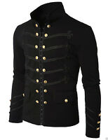 Men's Unique Modern Black Embroidery Black Military Napoleon Hook Jacket