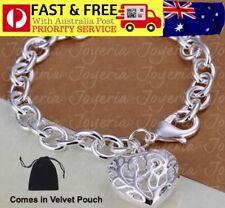 Silver HEART Charm Pendant Bracelet Bangle Link Chain Stunning Gift