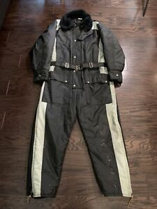 Vintage Walls Blizzard Pruf Snow Snowmobile Ski Suit Black Belted Mens Sz Large