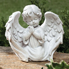 Cherub Garden Statue Angel Wings Praying Outdoor Indoor Decor White Yard Patio ~