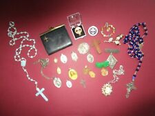 Lot of Religious Vintage Jewelry~ Catholic Medals~ Brooches~ Rosaries