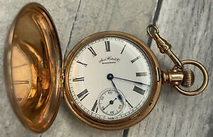 Antique Gold Filled Waltham Pocket Watch 14S 7J, Full Hunter Runs