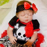 "23""Newborn Full Body Silicone Reborn Baby Girl Sleeping Doll Soft Vinyl Lifelike"