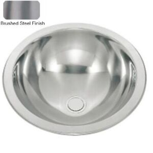 Round Bowl Brushed Stainless Steel Inset Bathroom Basin Sink (M06)