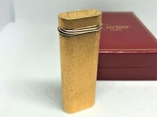 Auth CARTIER Trinity 3-Color Ring K18 Gold Plated Brushed Bark Lighter w Case