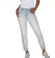 Laurie Felt Classic Denim Embroidered Slim Leg Jeans Powder Blue Reg 10 A310025