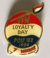 VFW Military Veterans 1986 Loyalty Day 7th District Pin Badge Rare Vintage (R6)