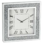Silver Square Crushed Crystal Clock 40cm Panel Time Ornament Sparkle Diamante