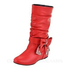 Womens leather Boots internal Wedges heel Winter Shoes bow Booties Size 0-14