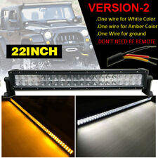 """Dual Color Amber White 22"""" inch Straight LED Work Light Bar Combo Beam Offroad"""