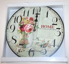 Wall Clock - 'Home' Roses in Vase Design (34cm)