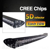 31 inch 150W CREE LED Single Row Curved Light Bar Driving Light Spot Flood Combo