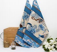 2 PC Kitchen Towels with Blue Birds Pattern 20x27 Dish Cloth 100% Natural Cotton