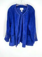 Linea By Louis Dell'Olio Womens Blue Long Sleeve Open Leather Jacket Size 3X