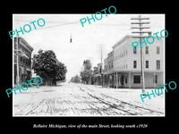 OLD LARGE HISTORIC PHOTO OF BELLAIRE MICHIGAN, VIEW OF THE MAIN STREET c1920