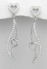 40mm Solid Sterling Silver CZ Heart on Wing Dangle Earrings 4.63g