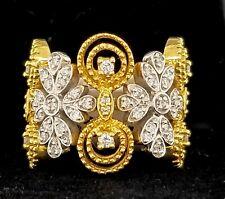 18K YELLOW WHITE  GOLD  RING 0.65CT. NATURAL DIAMOND Sonia B