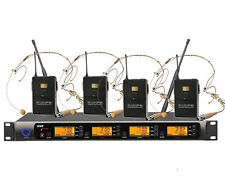 Professional UHF 4 Channels Wireless Microphone System with 4 Beige Headset mic