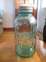 BALL PERFECT MASON w Ribs,BLUE 2 QUART/HALF GALLON JAR  ZINC LID Aqua Blue Jar