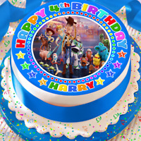 TOY STORY 4 PERSONALISED BIRTHDAY 7.5 INCH PRECUT EDIBLE CAKE TOPPER A003K
