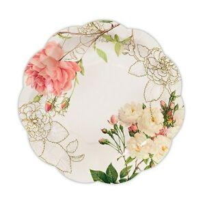 24 Pink Rose Floral Paper Plates Bridal Shower Wedding Decorations