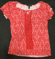 French Laundry Womens Cap Sleeve Blouse Top Red White Stripe Size Medium