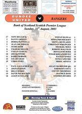 Teamsheet - Dundee United v Rangers 2003/4