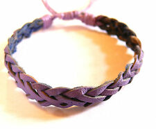 Bracelet Brésilien en Cuir Amitié Friendship Bonheur Leather violet purple