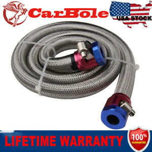 Universal Braided Steel Fuel Line Kit Hose Clamps  Oil Fuel 3/8 inch Newly