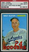 Walter Alston 1967 Topps Hand Signed Psa/dna Original Authentic Autograph