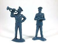 Vintage Tim-Mee Air Force Pilots Ground Crew 65mm Blue Plastic Figures Lot/2