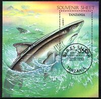 (Ref-10879) Tanzania 1993 Shark Miniature Sheet  SG.MS1672 Used (CTO)