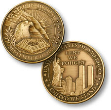 NEW United in Memory Sept 11 Lest We Forget United We Stand Challenge Coin 56000