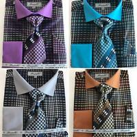 New Fratello Fashion Gingham Plaid Dress Shirt w/Tie and Hanky FRV4137P2