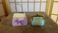 MINI Handbag Purse Trinket Box 2 PC LOT Purple Green White Gold