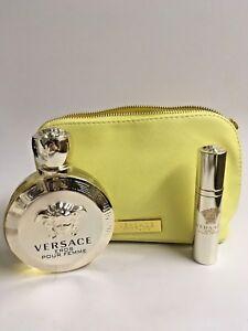 Versace EROS POUR FEMME Women 3 Pcs Set EDT 3.4 & TRAVEL SPRAY  + Bag