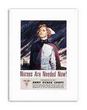 Guerra WWII USA arruolarsi Esercito Infermiera Corps Poster in Tela Militare art prints