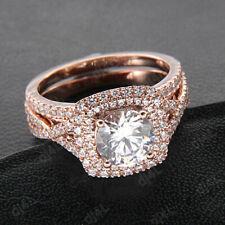 Solid 14k Rose Gold 1.25ct Round Diamond Wedding Band Engagement Bridal Ring Set