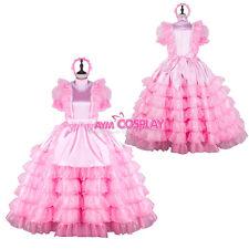 pink Satin-Organza sissy maid  dress lockable Tailor-made[G2259]