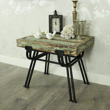 Sgabello in metallo legno effetto anticato SIDE TABLE SHABBY CHIC Mobili per camera da letto salotto
