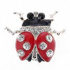Beautiful Ladybird Brooch in Enamel and Diamante Pin New Design