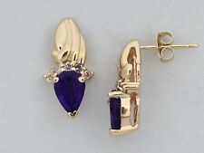 Natural Amethyst with Natural Diamond Earrings Solid 14kt Yellow Gold