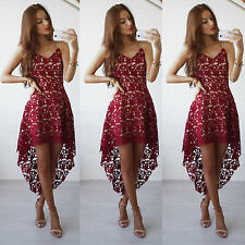 Sexy Womens Sleeveless Lace Long Dresses Evening Party Cocktail Wine Red L LZF02