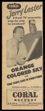 1950 Jerry Lester photo Coral Records vintage trade print ad