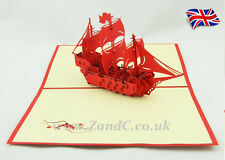 Warship 3D Pop Up Greeting Handmade Kirigami Cards All Occasion VICTORY FIGHTING