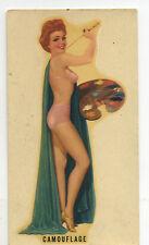 vtg decal pin up girl artist painter lingerie burlesque art deco camouflage