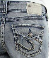 Womens Silver Jeans Shorts Mid Rise Suki Flap Bermuda Denim Jean Plus 24 DEFECT