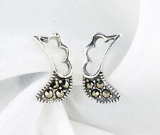 Solid 925 Sterling Silver Marcasite Dainty Wing It Stud Earrings