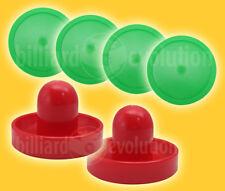 "2 Air Hockey Pushers-Red/Green Felt & 4 Round Green 3-1/4""Pucks - Table Hockey"