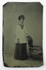 Tintype Photograph Portrait of a Woman Standing Gloves Hat with Flowers
